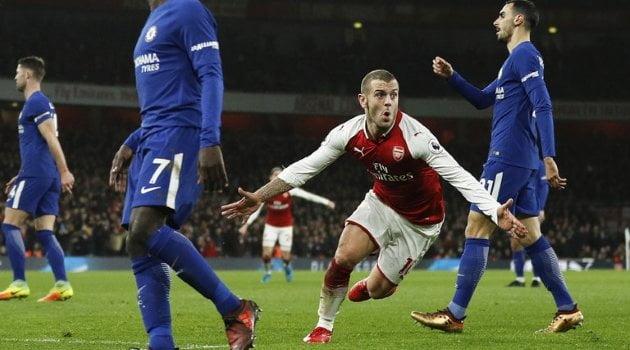 Jack Wilshere a deschis scorul în meciul Arsenal - Chelsea 2-2