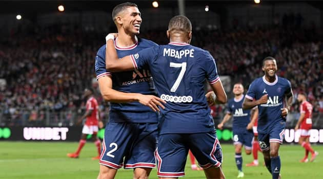 Achraf și Mbappe, protagoniști în meciul Brest - PSG 2-4
