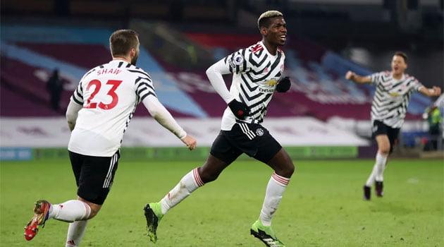 Paul Pogba a marcat unicul gol al meciului Burnely - Manchester United (12 ianuarie 2021)