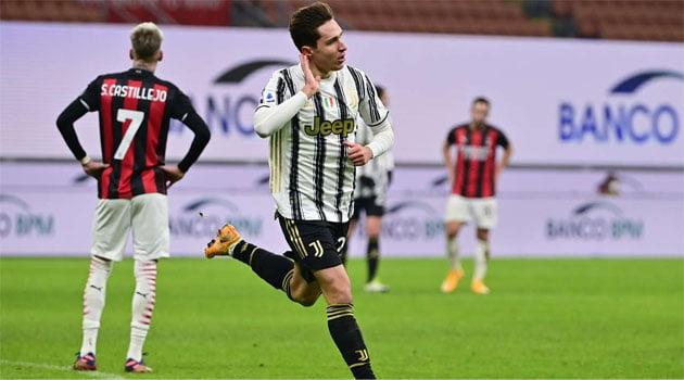 Federico Chiesa a reușit o dublă pentru Juventus în meciul cu AC Milan (6 ianuarie 2021)