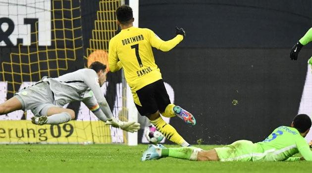 Jadon Sancho, marcator pentru Dortmund în meciul cu Wolfsburg (scor 2-0, 3 ianuarie 2020)