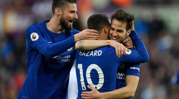 Olivier Giroud, Cesc Fabregas, Eden Hazard (Chelsea)