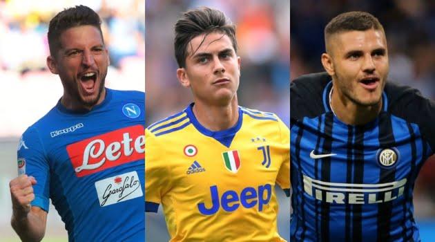 Dries Mertens (Napoli), Paulo Dybala (Juventus), Mauro Icardi (Inter)
