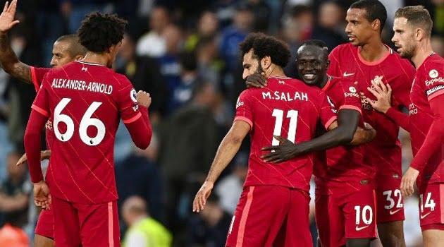 Liverpool în victoria de la Leeds, scor 3-0, în septembrie 2021
