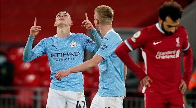 Phil Foden, marcator în Liverpool - Manchester City 1-4 (7 februarie 2021)