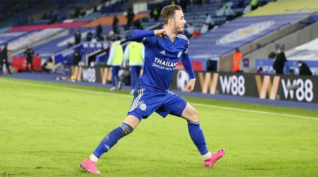 James Maddison, marcator în Leicester - Chelsea 2-0 (19 ianuarie 2021)