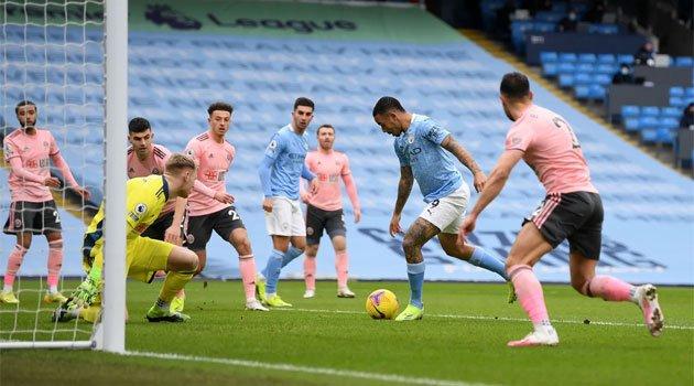 Gabriel Jesus a marcat unicul gol al meciului Manchester City - Sheffield United 1-0 (30 ianuarie 2021)