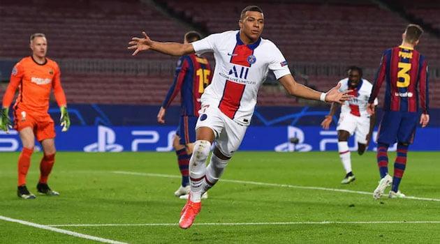 Kylian Mbappe, hattrick în meciul Barcelona - PSG 1-4 (optimile Champions League, februarie 2021)