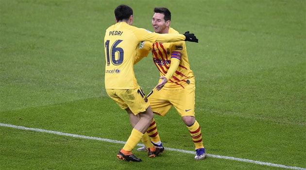 Messi și Pedri, în meciul Bilbao - Barcelona 2-3 (6 ianuarie 2021)