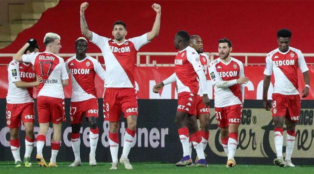 AS Monaco în victoria 3-1 cu Olympique Marseille (23 ianuarie 2021)