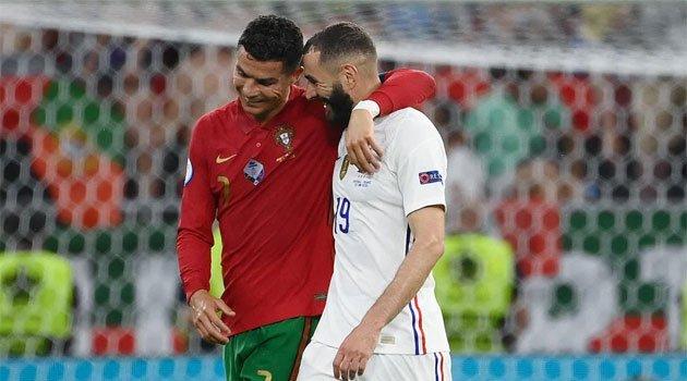 Cristiano Ronaldo și Benzema au reușit câte o dublă în meciul Portugalia - Franța din grupele EURO 2020