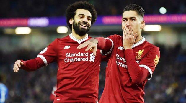 Mo Salah și Firmino în meciul Brighton - Liverpool 1-5